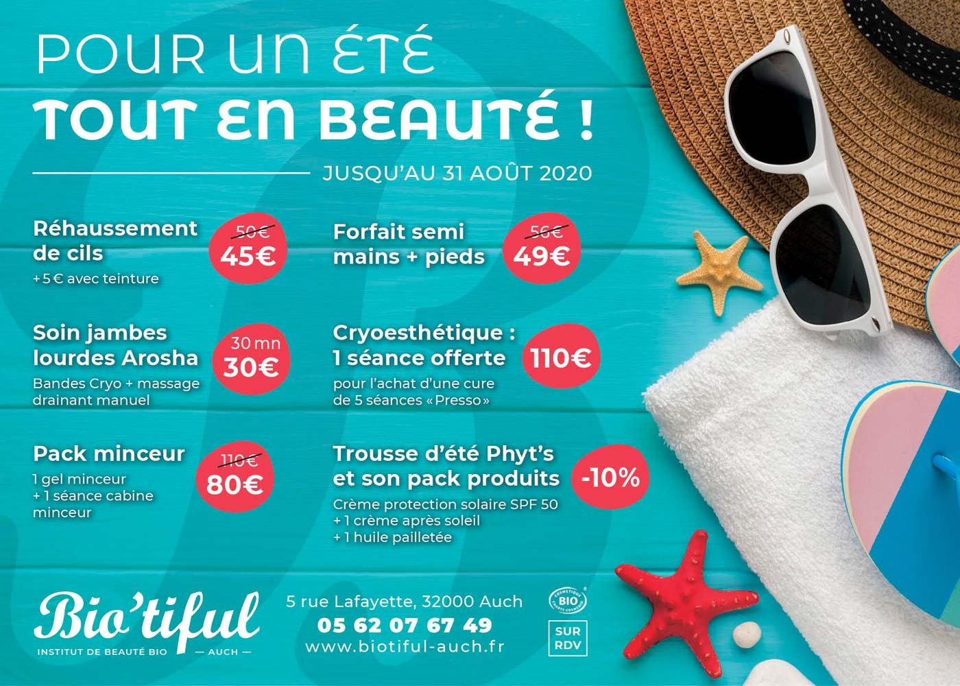offres promotions institut beauté biotiful été 2020 soins esthetiques auch gers 32
