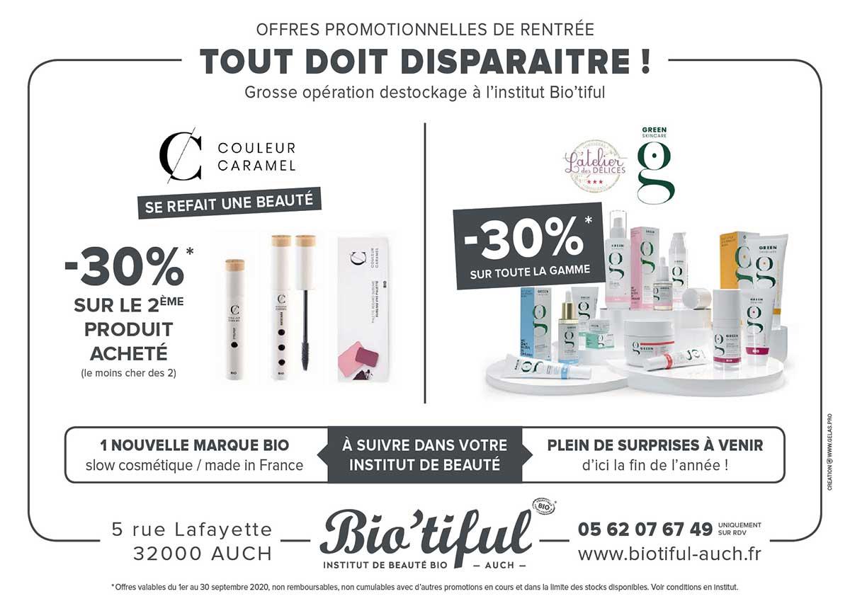 offres promotions institut beauté biotiful septembre 2020 soins esthetiques auch gers 32